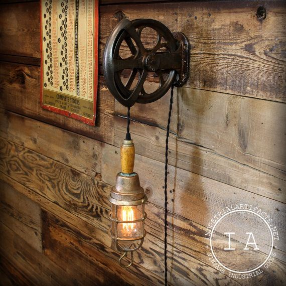 The Rustic Sailor Pulley Pendant Light Wooden Pulley By: Vintage Industrial Cast Iron Pulley Wood By