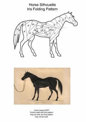 Horse Silhouette Iris Folding Pattern on Craftsuprint designed by Carol Lepard - This Iris Folding Pattern is of a Horse Silhouette. - Now available for download!