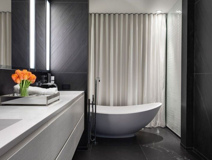 Image Gallery For Website Pretty Contemporary House Ideas for Your Inspirations Modern Bathroom With White Tub And White Vanity In The Iron Lace House With Wide Mirr