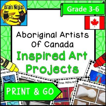 This set of FIVE art projects incorporates painting, oil pastels, print making and carving to study five different Aboriginal artists of Canada through creating a piece of art inspired by each of these amazing artists: George Littlechild (Cree), Bill Reid (Haida), Dana Standinghorn (Cree), Jason Carter (Cree) and Leah Dorian (Mtis).Each lesson comes with directions and examples of finished projects which your students can use to help inspire your artistic flare.