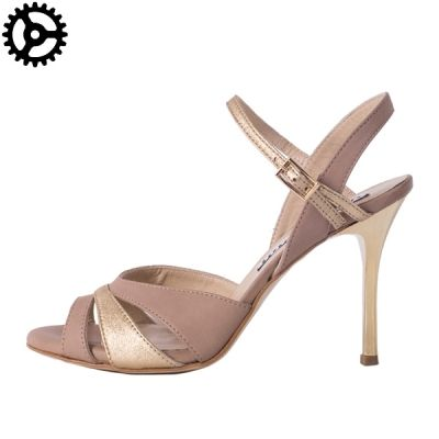 WOMEN TANGO SHOES IN METALLIC GOLD AND BEIGE/COOKIE LEATHER