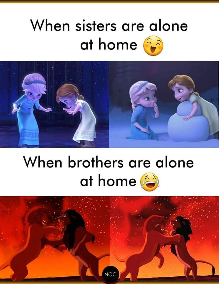 And When Brother And Sister Are Alone At Home Best Party Siblings Funny Quotes Brother Quotes Funny Sister Quotes Funny