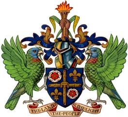 The emblems on the Coat of Arms and what they represent:  Tudor Rose-England  Fleur de lis-France  Stool-Africa  Torch-Beacon to light the path  Amazona Versicolor- National bird  Motto: The Land, The People, The Light  Designed by: Sydney Bagshaw