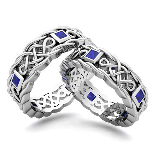 Trending Matching Celtic Knot Wedding Band in k Gold Sapphire Wedding Ring This custom made wedding