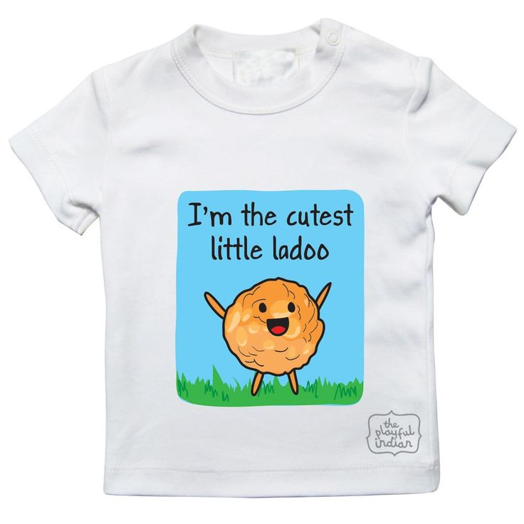 I'm The Custest Little Ladoo Kids/ Baby T Shirt (also available as babygrow).  Perfect as a birthday / baby shower or everyday gift for new born up to 4 years of age.  #theplayfulindian #indiantshirt #babytshirt #indian #ladoo #babytshirt #babygrow #ladoo