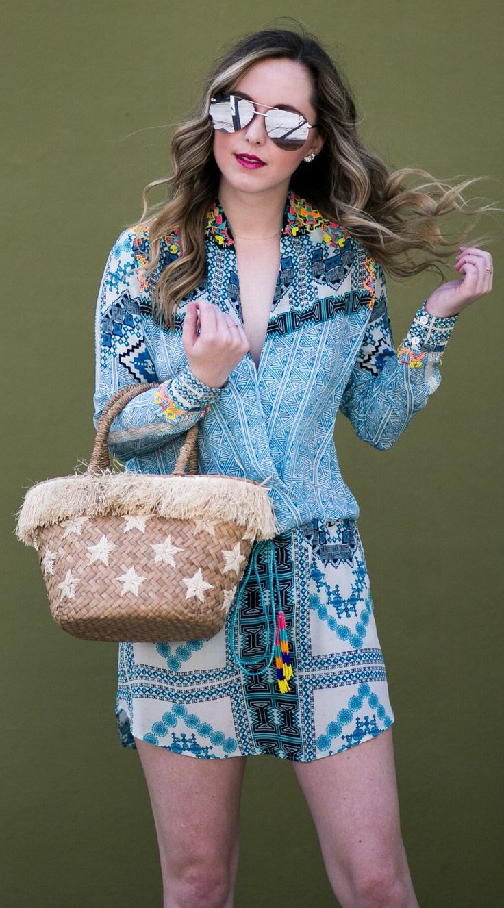 #spring #outfits Blue Printed Blouse & Printed Skirt & Star Print Tote Bag