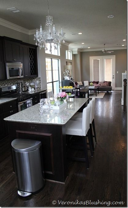 Lovely nice kitchen. Modern and homey. Paint color Benjamin Moore- revere pewter