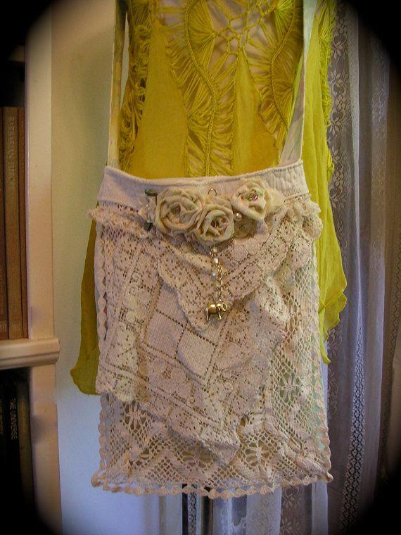 ReservedForSeren, Handmade Fabric Bag, vintage crochet doilies bobbin lace embellish, thin lightweight