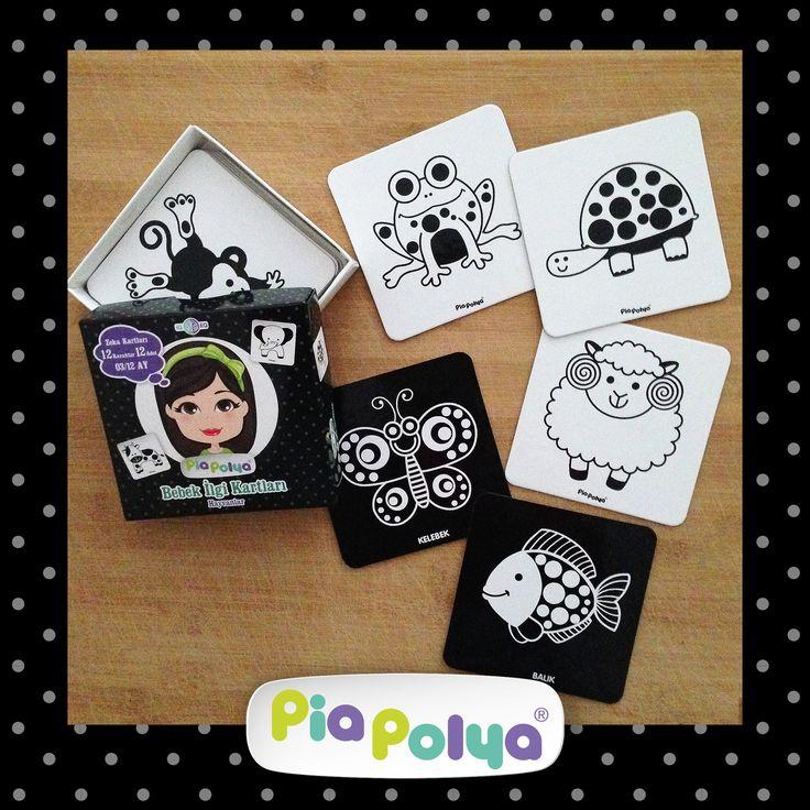 Pia Polya Bebek İlgi Kartları 03-12 ay çocuklar için tasarlanmış, siyah beyaz hayvan çizimlerinden oluşmaktadır. İçeriği: 118mm x 118mm, kalın mukavva ve selefon kaplı 12 karakter, 12adet zeka geliştirci oyun kartlarıdır.