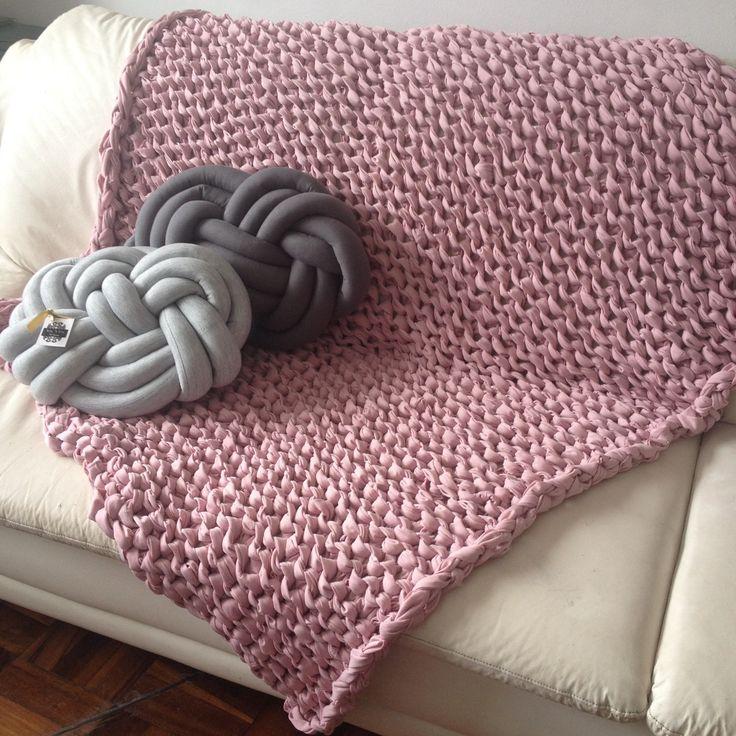 Manta em TRICO GIGANTE para sofá | Manta de tricô gigante ...