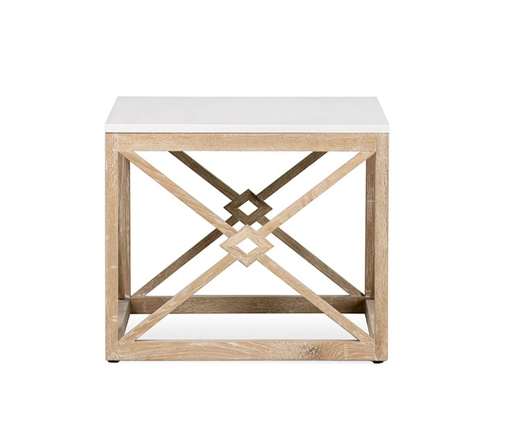 Boston Interiors: Banks Square White Marble Top End Table