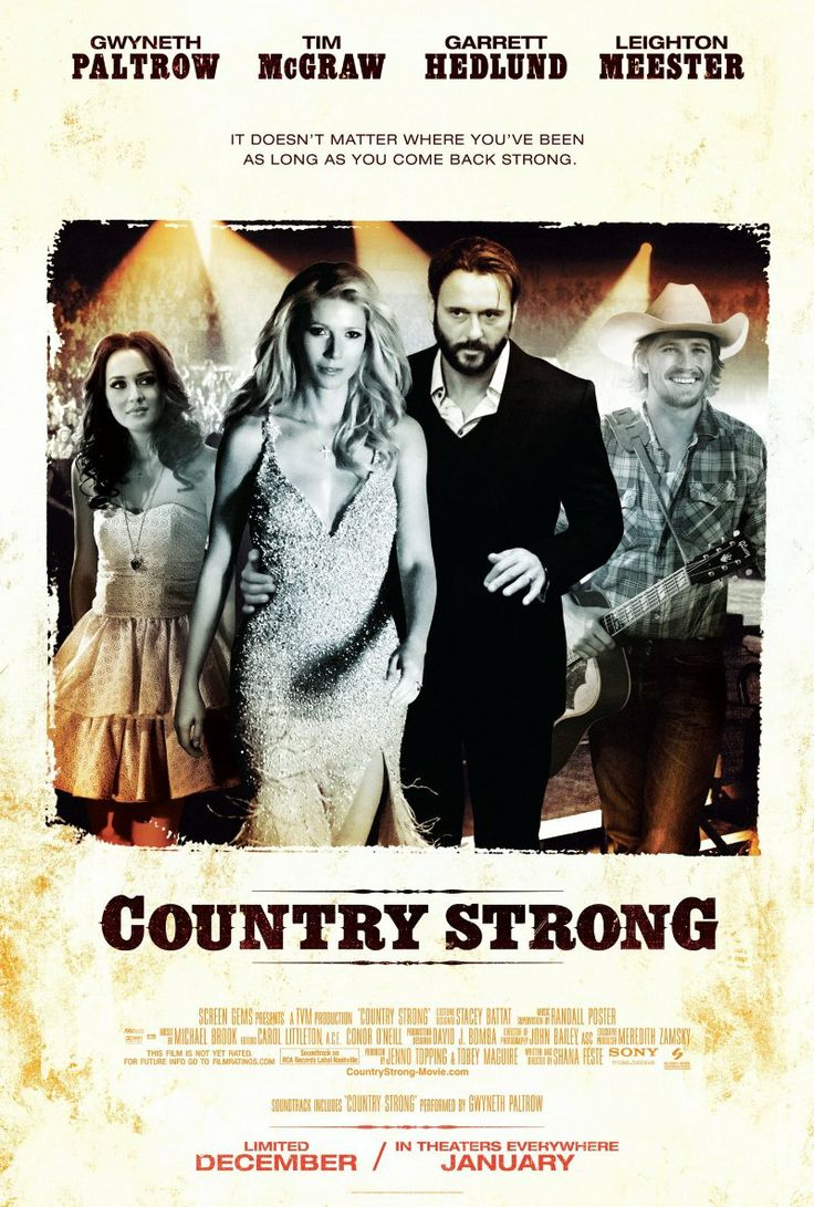 A rising country-music songwriter works with a fallen star to work their way fame, causing romantic complications along the way. (117 mins.) Director: Shana Feste Stars: Garrett Hedlund, Gwyneth Paltrow, Leighton Meester, Tim McGraw