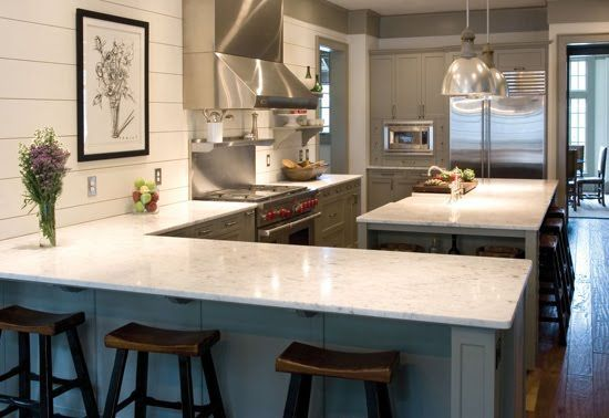 kitchens with no upper cabinets. This is it!!! Grey cabinets and white countertops with ship-lap boards.
