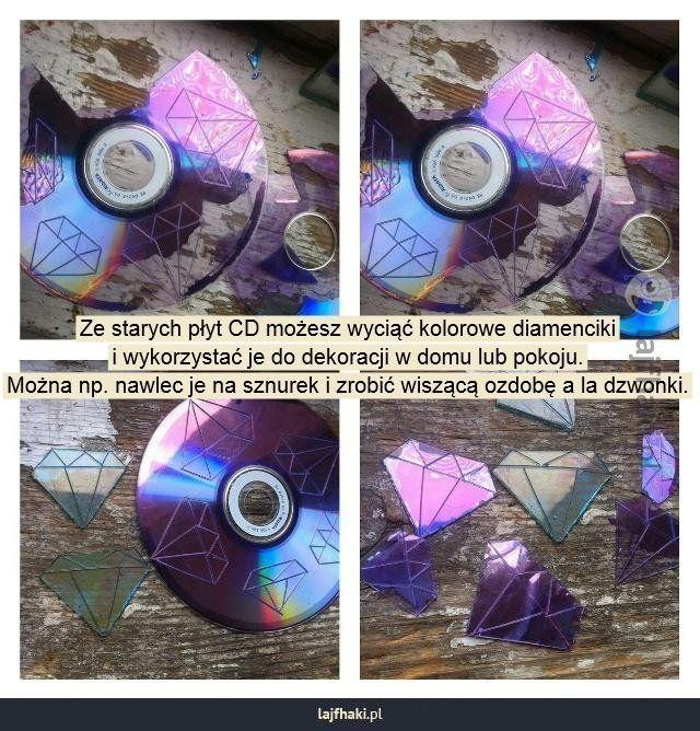 Diamentowe dekoracje - Ze starych płyt CD możesz wyciąć kolorowe diamenciki i wykorzystać je do dekoracji w domu lub pokoju. Można np. nawlec je na sznurek i zrobić wiszącą ozdobę a la dzwonki.