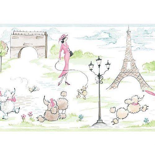 paris art Pink Paris French Poodle and Eiffel Tower