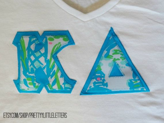 stitched greeksorority applique letter shirt in lilly pulitzer turquoise high beams print fabric2800