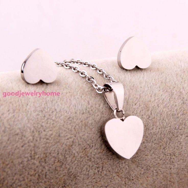 Women's Stainless Steel Silver Heart Pendant Necklace Earrings Jewelry Set