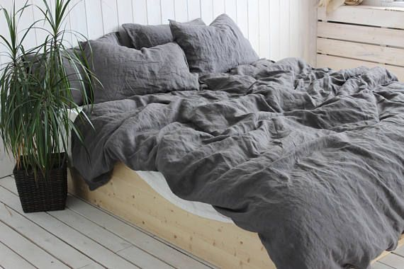 Organic Linen Duvet Cover Or Duvet Cover Set In Charcoal Gray Color Stonewahsed Softened Shabby Chic Look Linen Bedding In Charcoal Gray Linen Duvet Linen Duvet Covers Bed Linens Luxury