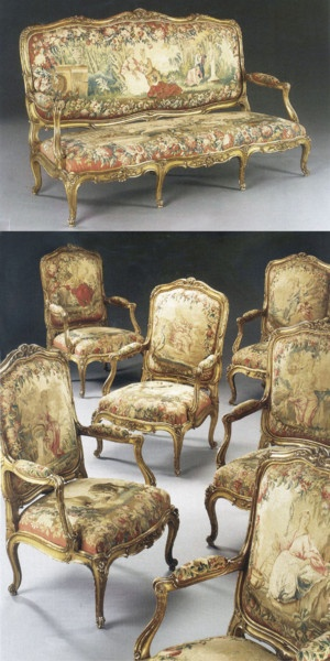 Louis XV gilt & tapestry salon set Ca 1860 France.