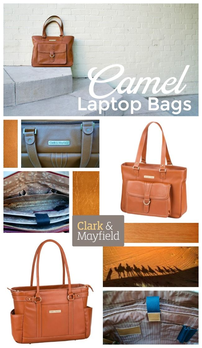 Camel color leather laptop handbags for women - classic work and travel bag