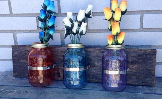 Mason jar vase, wall mount mason jar, mason jar decor, mason jar wall mount, farm house decor, rustic decor, mason jar sconce, gallery wall