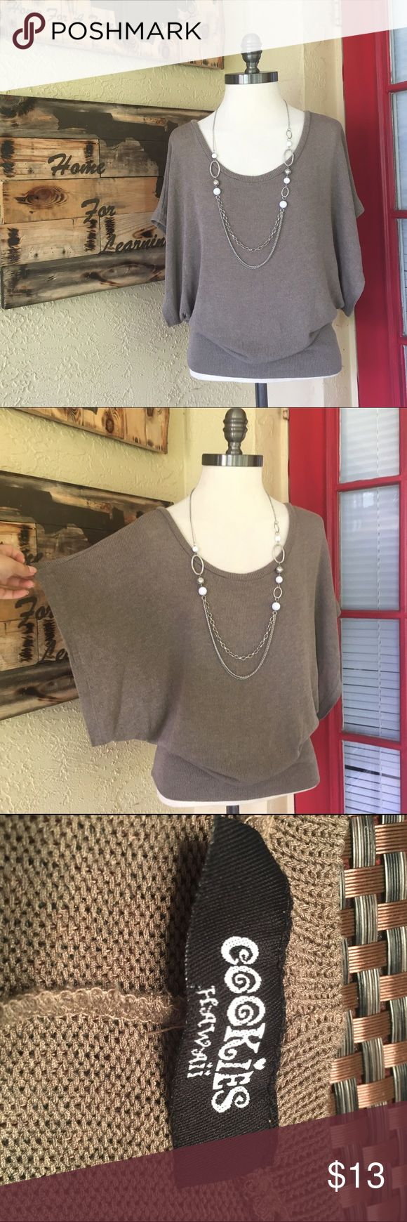 Batwing taupe summer sweater slouchy top Necklace sold in separate listing. Top is lightweight and flowy. Fitted bottom and batwing sleeves. Great for layering, flattering neutral color. Cookies Tops