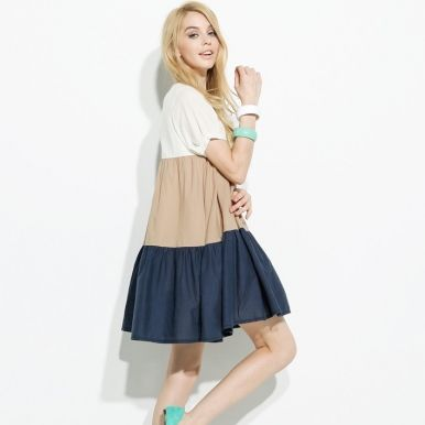 Loose Colorful Dresses For Women Beige