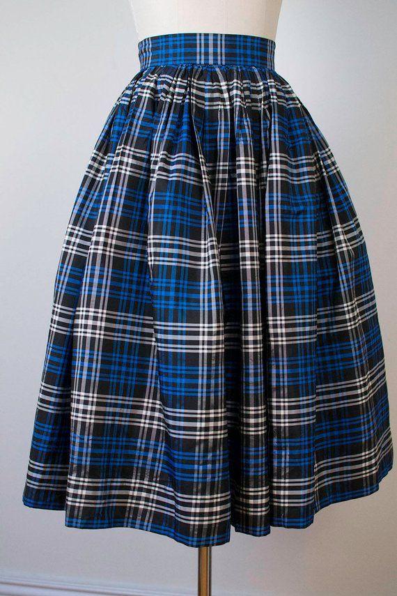 51b07071e 1950s Plaid Taffeta Skirt / 50s Blue and Black Striped Skirt | Haec ...