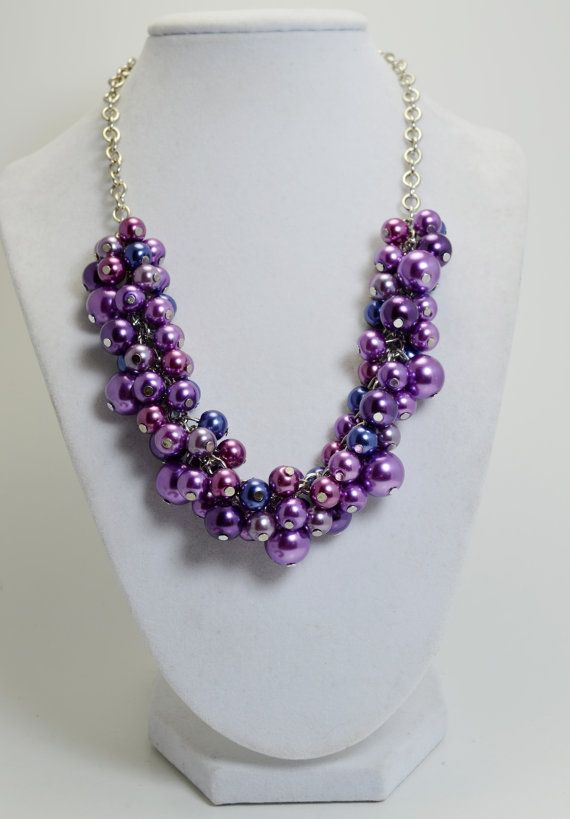 Purple and Navy Necklace Pearl Cluster Necklace by Eienblue