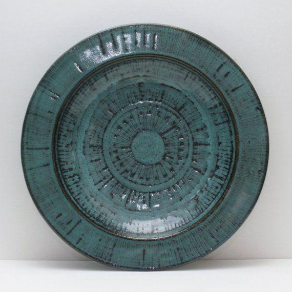 www.PaulasLoft.com Eunice Prieto Pottery Charger Plate Centerpiece Bowl by PaulasLoft #Pottery #Vintage #HomeDecor #Collectible #MidCentury
