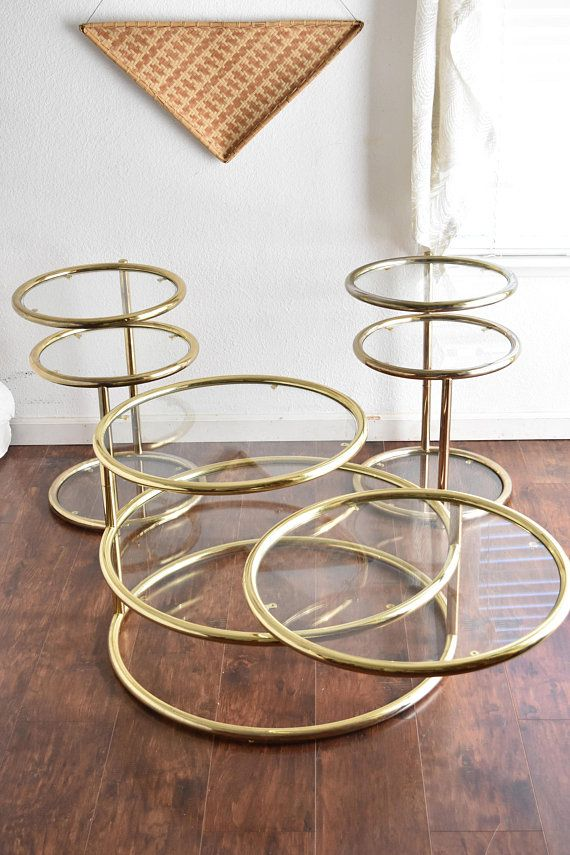 Milo Baughman Style Hollywood Regency Gold Plated 3 Tier Gold Coffee Table Baughman Mid Century Modern Interiors