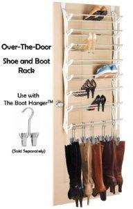diy shoe/boot storage   Door Shoe and Boot Rack Storage- Closet or Bedroom Door Hanging Boot ...