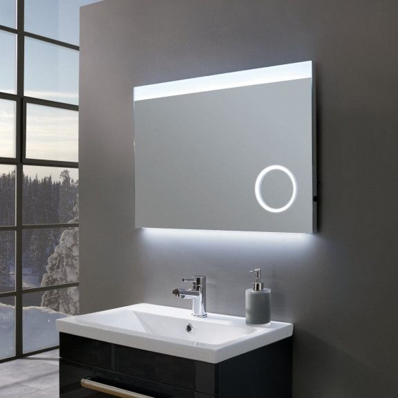 Deluxe Ultra Slim Landscape Led Illuminated Mirror With Magnifier 700 X 500mm Bathroom Mirror Small Space Bathroom Mirror