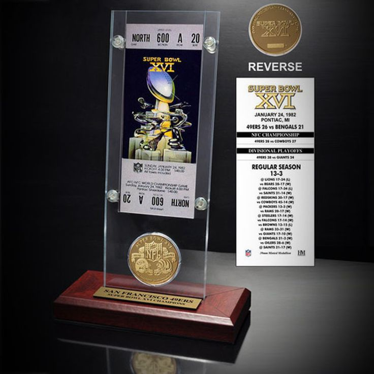San Francisco 49ers Super Bowl XVI Ticket and Game Coin Acrylic Display