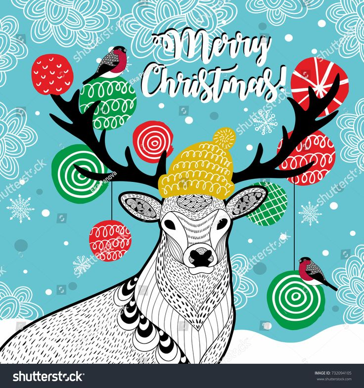 Creative vector card for Christmas. Vector illustration with deer in hat and bulfinch.