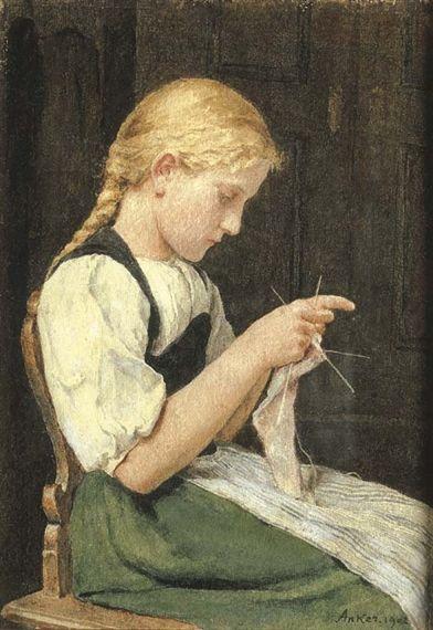 Albert Anker - Strickendes Mädchen, watercolor on paper
