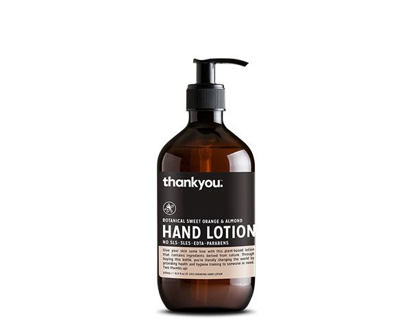 Thankyou 500mL Sweet Orange & Almond Hand Lotion. Free from parabens, SLS, SLES, EDTA and harsh chemicals (RRP $6.99)