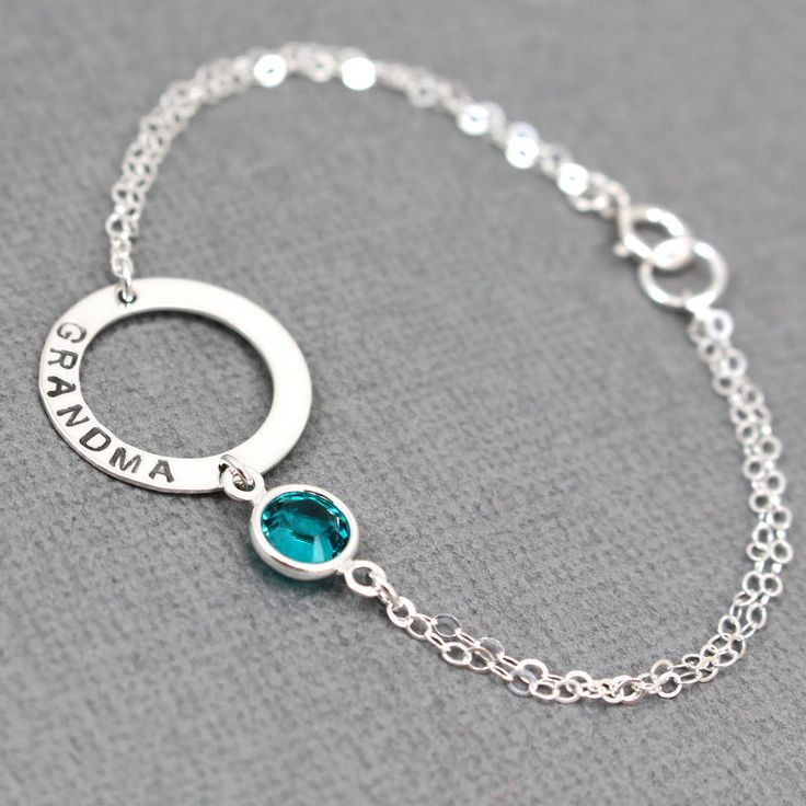 Silver Washer With Birthstone Bracelet Hand Stamped Grandma Bridesmaid Gift Mom N002