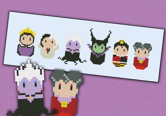 Disney Evil Villains parody  Cross stitch PDF by cloudsfactory, $5.00