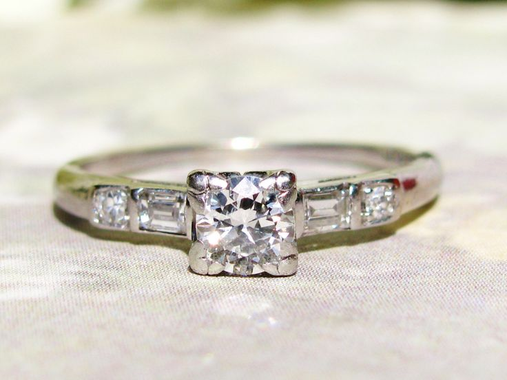 Antique Engagement Ring 0.46ctw European Cut and Baguette Diamond Platinum Art Deco Engagement Ring Fishtail Prongs Diamond Wedding Ring! by LadyRoseVintageJewel on Etsy https://www.etsy.com/listing/200765546/antique-engagement-ring-046ctw-european