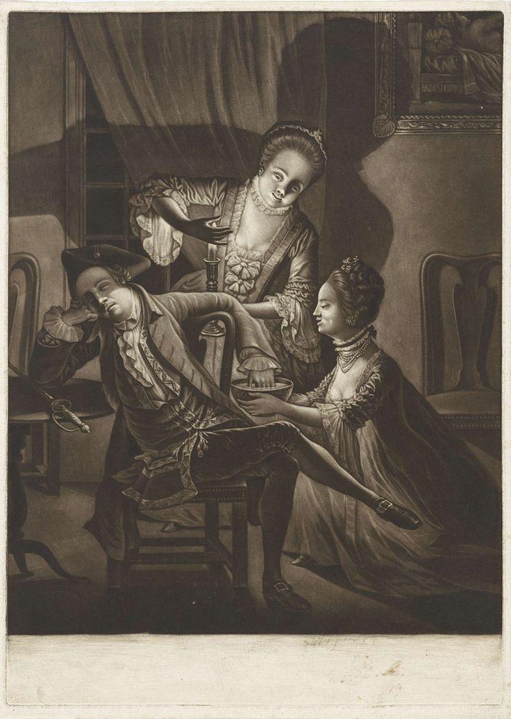 John Greenwood | Twee vrouwen houden de hand van een slapende man in het water, John Greenwood, 1768 | Interieur met twee jonge vrouwen die de hand van een slapende jongeman in een kom met water houden. Aan de muur hangt een schilderij.