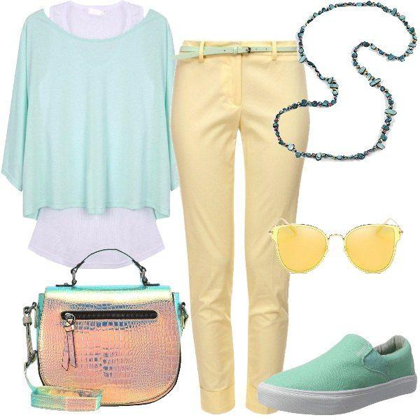 Total look per tutti i giorni caratterizzato dai colori pastello come il verde menta della tunica due in uno con canotta bianca e il giallo del pantalone in cotone elasticizzato con cintura inclusa. Le scarpe sono un paio di slip on in verde menta mentre la borsa è a tracolla in fintapelle con effetto camaleontico. Gli accessori che completano il look sono un paio di occhiali da sole in giallo e una collana lunga con pietre e perle di cristallo.
