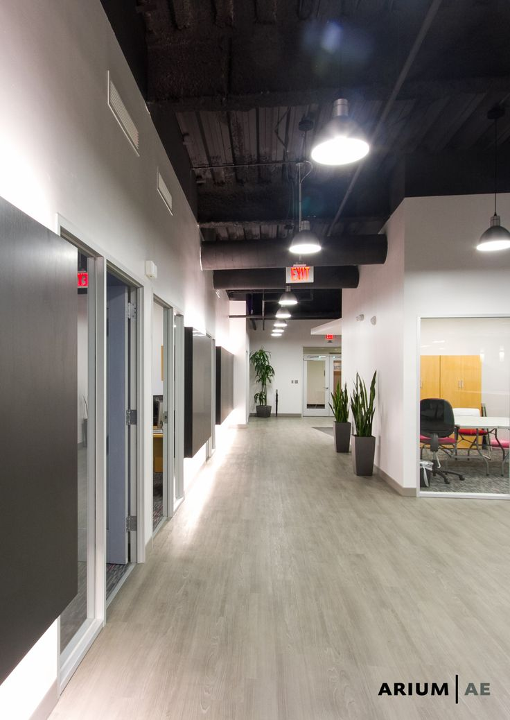 Corridor In An Office Space With Black Laminate Accent