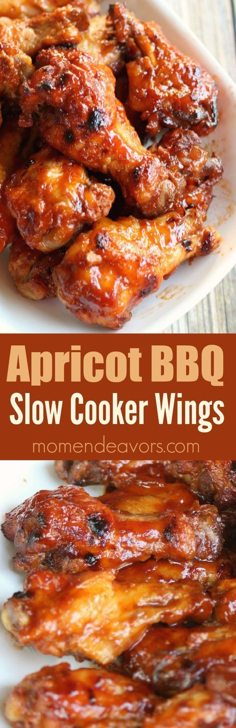 Slow Cooker Apricot BBQ Chicken Wings - delicious sweet and savory wings made easy in the crock pot. Perfect football food!
