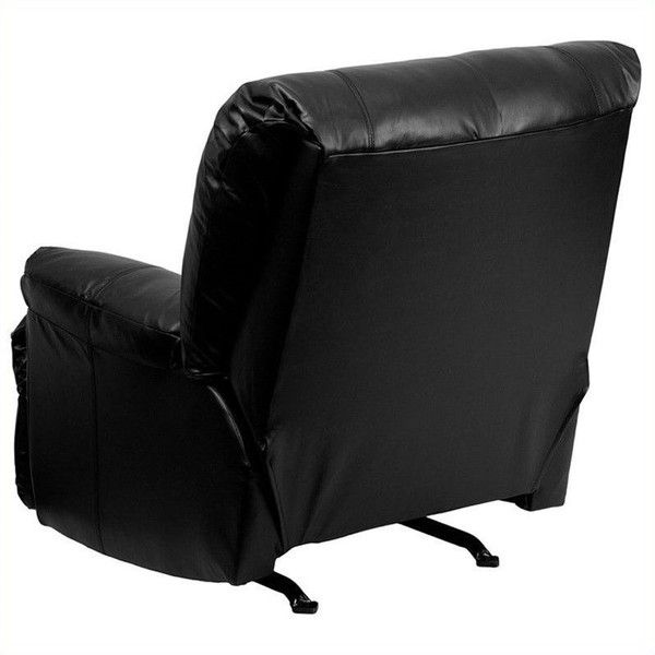 Flash Furniture Contemporary Apache Black Leather Rocker Recliner ($387) ❤ liked on Polyvore featuring home, furniture, chairs, recliners, black rocking chair, black leather recliner, black rocker, cushioned rocking chair and contemporary chairs