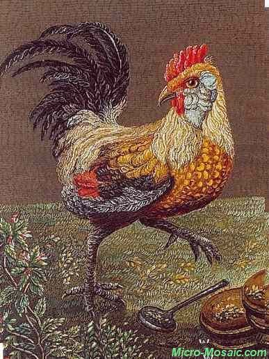 Cock, by Wekler. This miniature for the Russian Imperial family after a painting by d'Hondecoeter (1636-1695). Wekler was discovered in Russia where he was painting eggs in a glass shop.  He was trained in mosaic art by Italian mosaicist Moglia, eventually becoming mosaic master of the Russian Court.