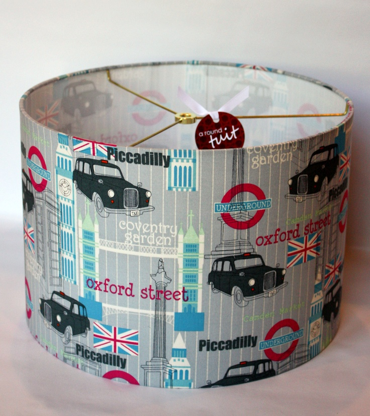 Lampshade featuring London themed fabric.  www.etsy.com/shop/dmccaulla