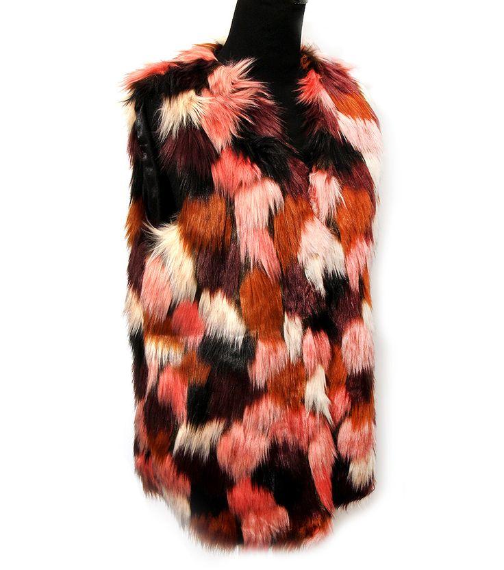 long faux fur multi color vest