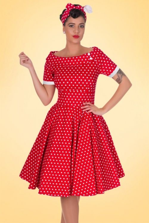 Dolly and Dotty~ 50s Darlene Polkadot Swing Dress in Red