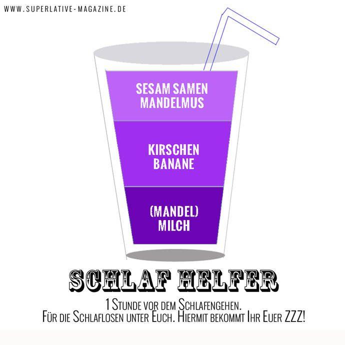Smoothie der beim Einschlafen hilft  Zutaten:  1 EL Erdnussbutter 1 EL Sesam ¼ Cup entkernte Kirschen ½ Banane 1 Cup Milch (Magermilch / Mandel / Soja) Eiswürfel